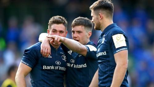 Leinster's Jordan Larmour, Luke McGrath and Ross Byrne savour Sunday's victory