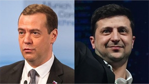 Dmitry Medvedev (L) said Russia had a chance at improving ties with Ukraine with Volodymyr Zelensky (R) as leader