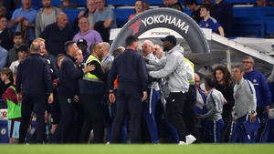 Players and coaching staff had to be kept apart at the final whistle at the Bridge