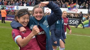 Cho So-Hyun and Leanne Kiernan celebrate their semi-final win against Reading