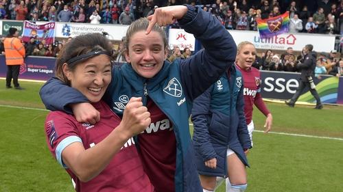 Cho So-Hyun and Leanne Kiernan celebrate their semi-final win against Reading