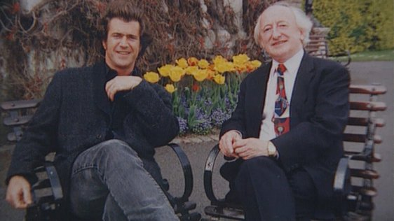 Actor Mel Gibson and Minister Michael D Higgins