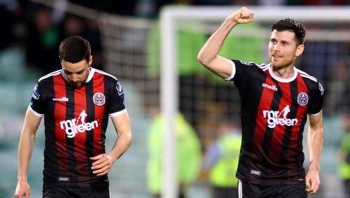 Dinny Corcoran (R) celebrates scoring the only goal of the game at Tallaght Stadium