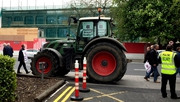 A tractor blocked the entrance for a short time to the hotel where AIB's AGM is taking place today