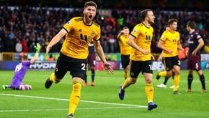 Matt Doherty celebrates his first-half goal against Arsenal