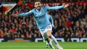Manchester City's Bernardo Silva celebrates his goal at Old Trafford