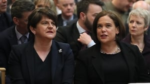DUP leader Arlene Foster and Sinn Féin President Mary Lou McDonald at the funeral of murdered journalist Lyra McKee