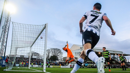 Action from Dundalk v Shamrock Rovers at Oriel Park in 2018