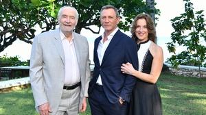 Producer Michael G Wilson, actor Daniel Craig and producer Barbara Broccoli attend the Bond 25 film launch