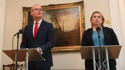 Simon Coveney and Karen Bradley speaking in Belfast