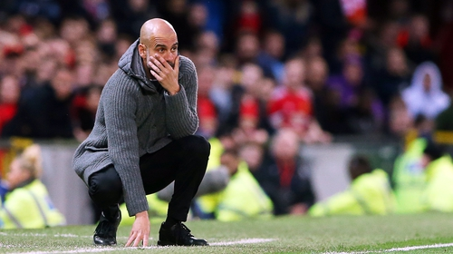 Pep Guardiola on the sideline at Old Trafford