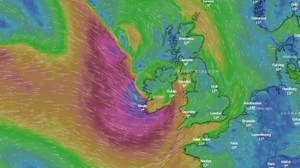 A wind map shows the storm hitting the west and south at 8pm (Pic: Windy.com)