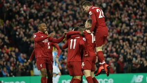 Liverpool players celebrate Naby Keita's opener