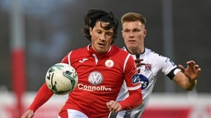 Ronan Coughlan of Sligo Rovers and Dundalk's Daniel Cleary in action during the last league meeting between the sides