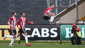 Eoin Toal celebrates his goal for Derry City