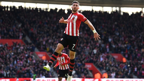 Shane Long celebrates after scoring his team's first goal
