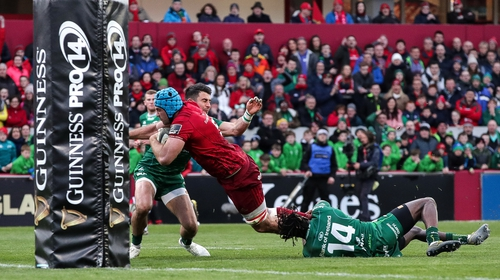 Tadhg Beirne powers over for Munster's opening try in Thomond Park