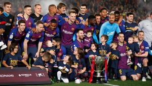 Barcelona made it seven La Liga titles this decade after an uninspiring win over Levante in the Camp Nou