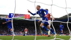 Jamie Vardy celebrates scoring against Arsenal