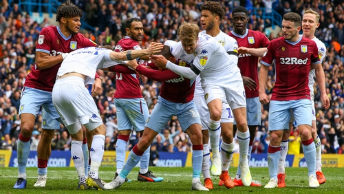 Players clash after Leeds' controversial goal against Aston Villa