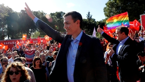Spanish Prime Minister Pedro Sanchez greets supporters during the campaign