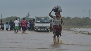 Residents brave the floods in Mazive, southern Mozambique