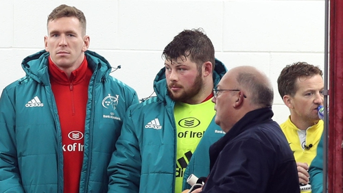 Chris Farrell (L) takes his place in the tunnel after injuring himself during the warm-up before last December's game against Castres