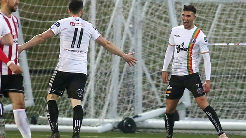 Bohemians' Danny Mandroiu (r) celebrates his goal