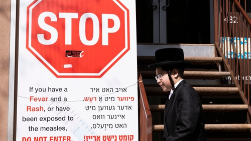 Health clinic posts warning about measles in the Orthodox Jewish area of the Williamsburg