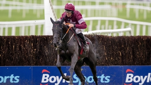 Davy Russell jumps the last on Delta Work