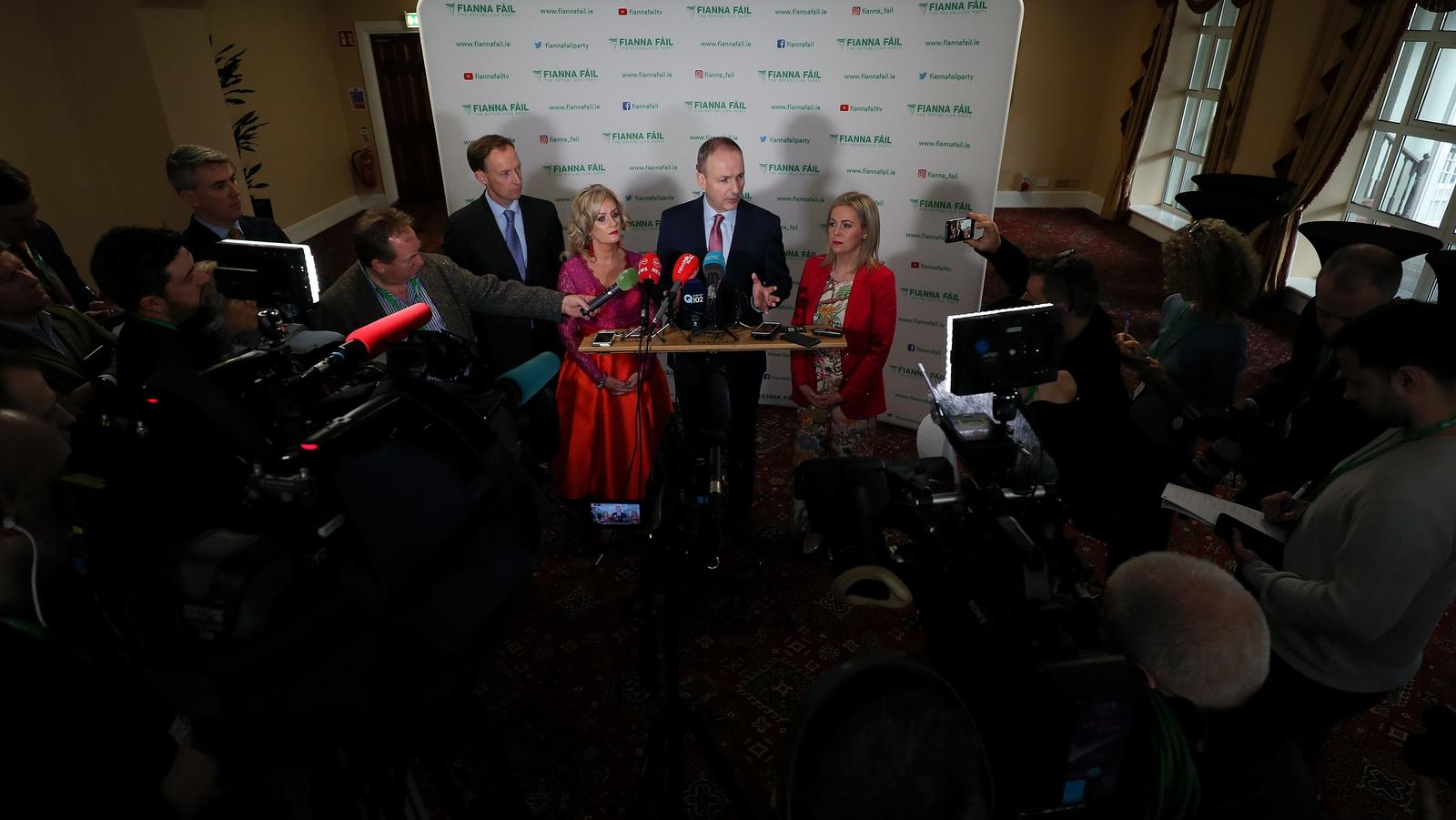 Image - Micheál Martin speaks to the media at the Fianna Fáil ard fheis earlier this year