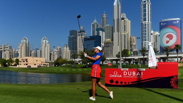 Camilla Lennarth of Sweden tees off at the ever-impressive Emirates Golf Club complete with Dubai skyline in the background