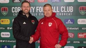 Cork City's interim manager John Cotter (R) and club chairman Declan Carey