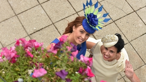 Gretta is a regular at Ladies Day. Here she is pictured at Leopardstown with Triona Crosse in 2015.