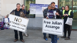 Supporters of Julian Assange outside Westminster Magistrates' Court