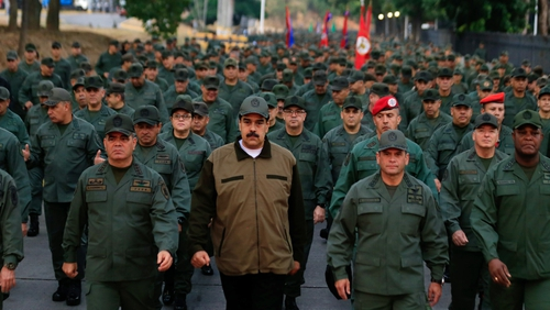 Nicolas Maduro attending an official ceremony with members of the National Bolivarian Armed Forces of Venezuela in Caracas