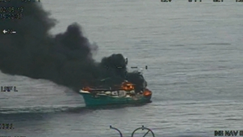 The Suzanne 2 caught fire about 29 miles east of Arklow (Pic/video: Irish Coast Guard)