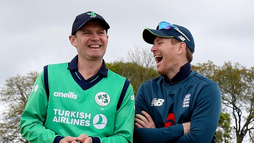 Eoin Morgan (R) and William Porterfield before this month's ODI between Ireland and England