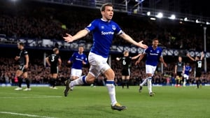 Everton's Seamus Coleman celebrates his side's second goal