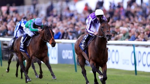 Magna Grecia ridden by jockey Donnacha O'Brien winning the 2019 Qipco 2000 Guineas