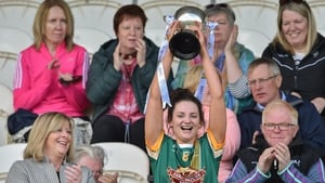 Meath captain Maire O'Shaughnessy lifts the Division 3 cup