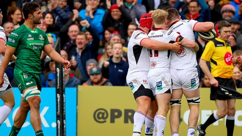Ulster celebrate their opening try