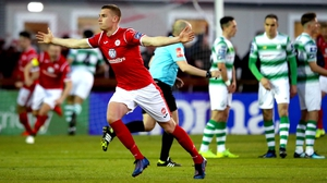 Jack Keaney celebrates what turned out to be the winner at The Showgrounds