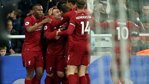 Liverpool celebrate the winning goal