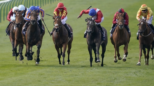 Wayne Lordan riding Hermosa (3L, blue cap)