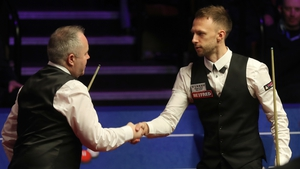Trump (r) and Higgins clashed in the World Championship final in May