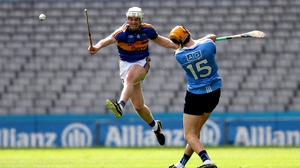 Michael Cahill blocks down Dublin's Paul Winters during last year's Allianz Hurling League clash