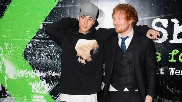 Justin Bieber and Ed Sheeran attend the World Premiere of Ed Sheeran: Jumpers For Goalposts in October 2015 in London