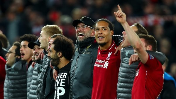 Jurgen Klopp manager / head coach of Liverpool celebrates with his players and staff at full time during the UEFA Champions League Semi Final second leg match between Liverpool and Barcelona at Anfield on May 7, 2019 in Liverpool, England. (Photo by Robbi