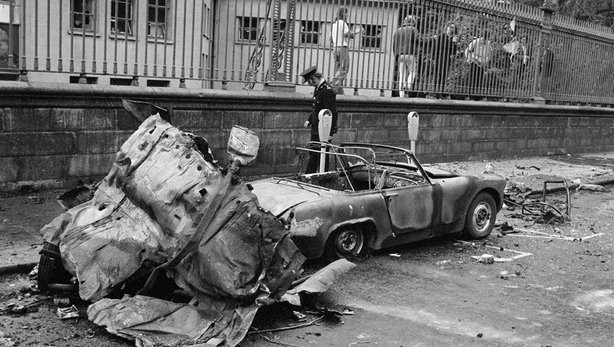 Aftermath of bomb in South Leinster Street (1974)